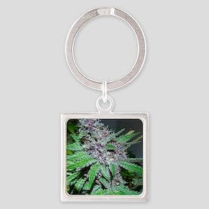 Organic Purple Bud Square Keychain