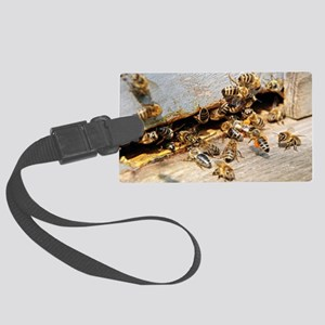 Honey bees on a beehive Large Luggage Tag
