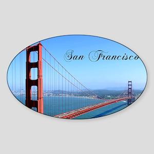 SF_10X8_GoldenGateBridge Sticker (Oval)