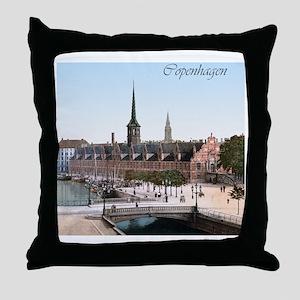 Vintage Copenhagen Exchange Hall Throw Pillow