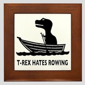 t-rex hates rowing Framed Tile