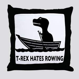 t-rex hates rowing Throw Pillow