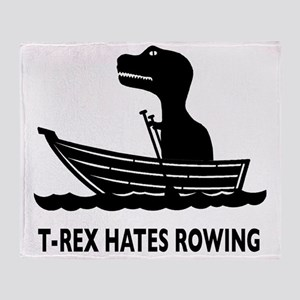 t-rex hates rowing Throw Blanket