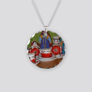 Russian Doll Tea Time Necklace Circle Charm