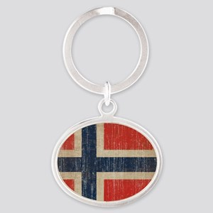 Vintage Norway Flag Oval Keychain