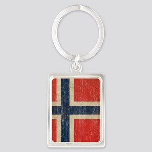 Vintage Norway Flag Portrait Keychain