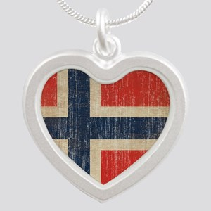 Vintage Norway Flag Silver Heart Necklace