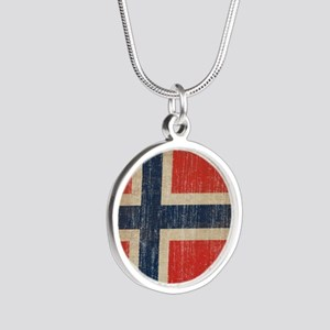Vintage Norway Flag Silver Round Necklace