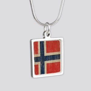 Vintage Norway Flag Silver Square Necklace