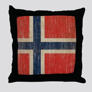 Vintage Norway Flag Throw Pillow