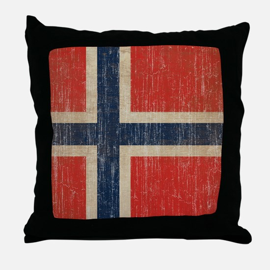 Vintage Norway Flag Throw Pillow