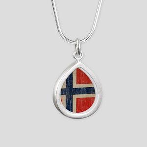 Vintage Norway Flag Silver Teardrop Necklace