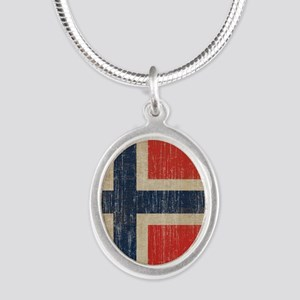 Vintage Norway Flag Silver Oval Necklace