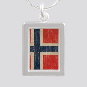 Vintage Norway Flag Silver Portrait Necklace