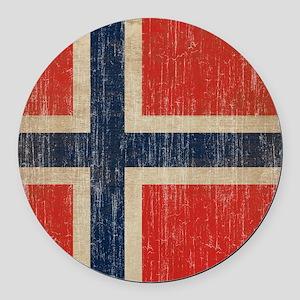 Vintage Norway Flag Round Car Magnet