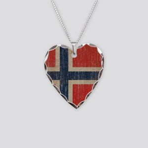 Vintage Norway Flag Necklace Heart Charm