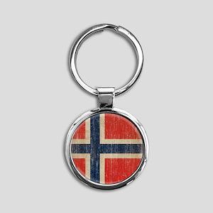 Vintage Norway Flag Round Keychain