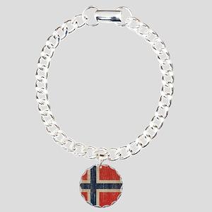 Vintage Norway Flag Charm Bracelet, One Charm