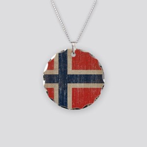 Vintage Norway Flag Necklace Circle Charm