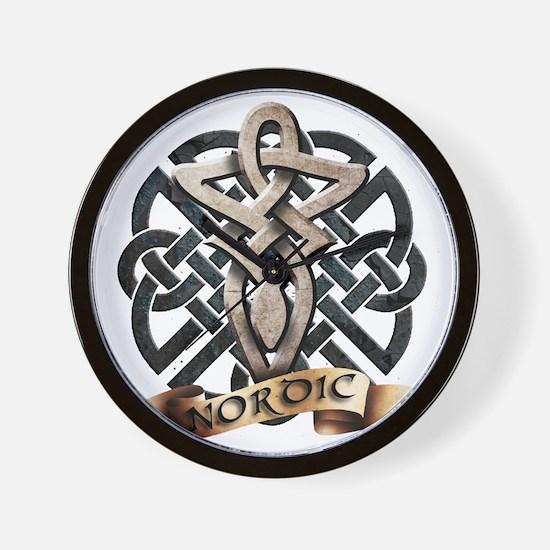 viking knot tribal celtic sword axe Wall Clock