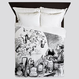 Microbiology caricature, 19th century Queen Duvet