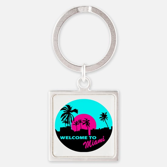 Welcome to Miami Square Keychain