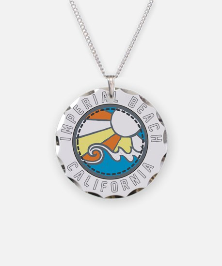Imperial Beach Wave Badge Necklace