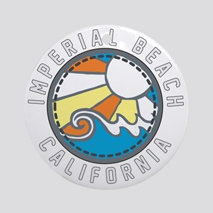 Imperial Beach Wave Badge Round Ornament