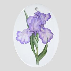 The Purple Iris Oval Ornament