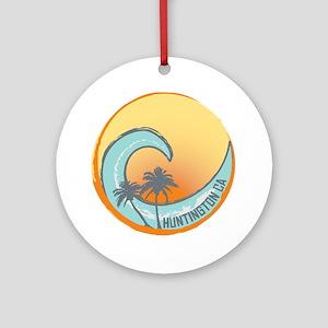 Huntington Beach Sunset Crest Round Ornament