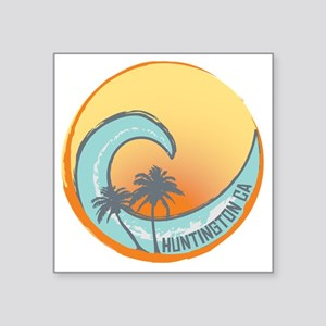 "Huntington Beach Sunset Cre Square Sticker 3"" x 3"""