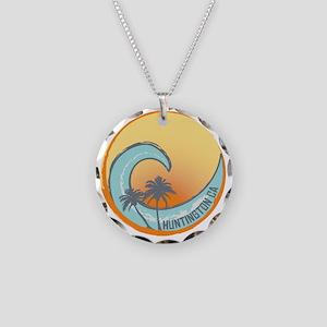 Huntington Beach Sunset Cres Necklace Circle Charm
