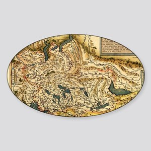 Ortelius's map of Switzerland, 1570 Sticker (Oval)