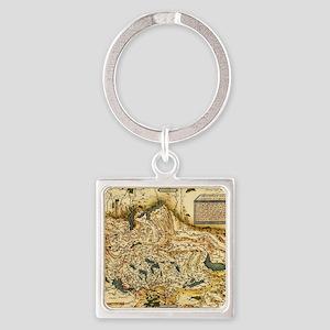 Ortelius's map of Switzerland, 157 Square Keychain