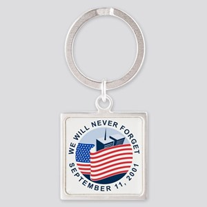 9/11 We will never forget Square Keychain