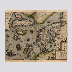 Ortelius's map of Northern Europe, 1 Throw Blanket