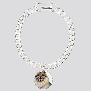 Keeshond Head Shot Charm Bracelet, One Charm