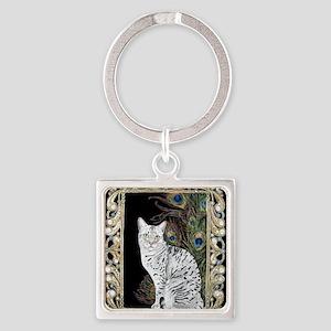 Silver Egyptian Mau Square Keychain