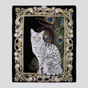 Silver Egyptian Mau Throw Blanket