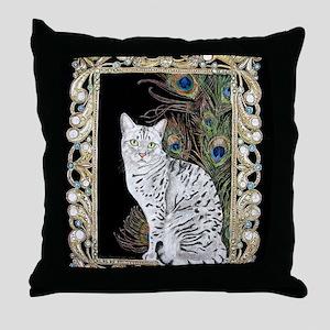 Silver Egyptian Mau Throw Pillow