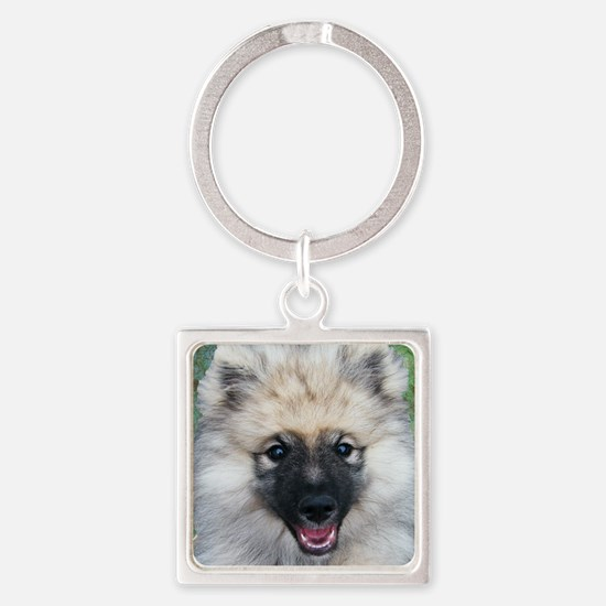 Keeshond Puppy Square Keychain