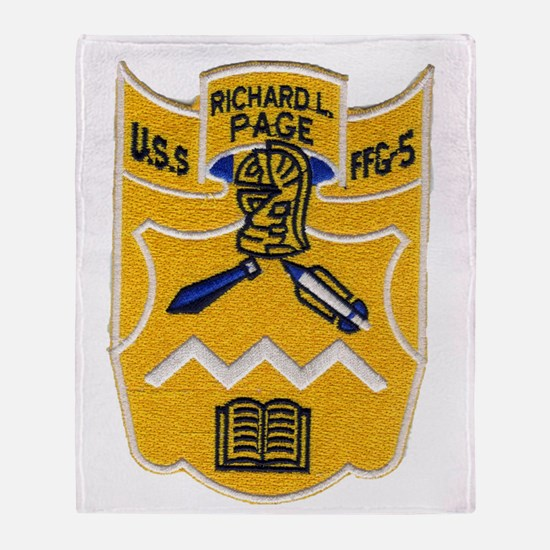 uss richard l. page ffg patch transp Throw Blanket
