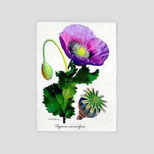 Opium Poppy (Papaver Somniferum) 5'x7'Area Rug
