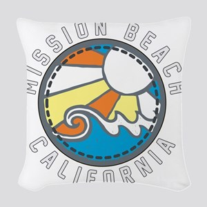 Mission Beach Wave Badge Woven Throw Pillow