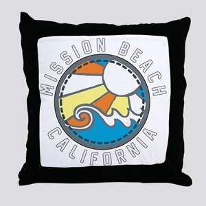 Mission Beach Wave Badge Throw Pillow