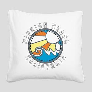 Mission Beach Wave Badge Square Canvas Pillow