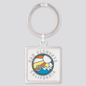 San Clemente Wave Badge Square Keychain