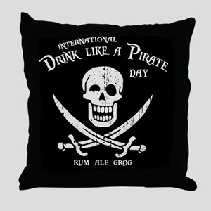 drink-pirate-BUT Throw Pillow