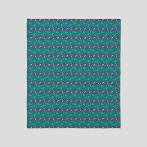 Green Blue Fancy Pattern Throw Blanket