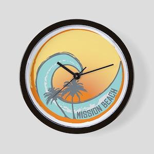 Mission Beach Sunset Crest Wall Clock